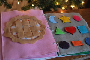 Page 5: A pie to weave. Page 6: Shapes to match, attached with velcro.