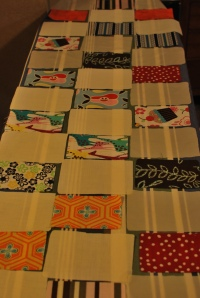 All of the pretty fabric cut and laid out.