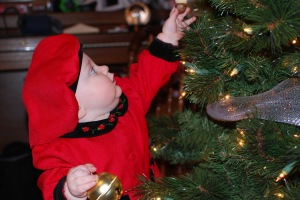 Baby with ornaments
